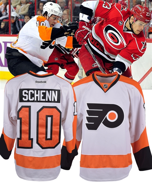 Brayden Schenns 2011-12 Philadelphia Flyers Game-Worn Jersey with Team LOA - First Season with Flyers! - Photo-Matched!