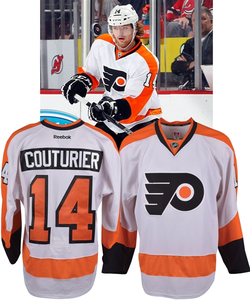 Sean Couturiers 2011-12 Philadelphia Flyers Game-Worn Rookie Season Jersey with Team LOA - Photo-Matched!