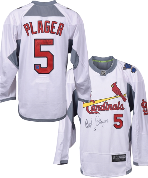 Bob Plager Signed St. Louis Cardinals / St. Louis Blues Themed Jersey with St. Louis Blues 14 Fund COA
