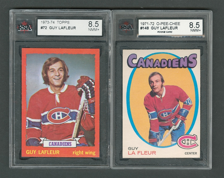 1971-72 O-Pee-Chee Hockey Card #148 HOFer Guy Lafleur RC and 1973-74 Topps #72 Guy Lafleur - Both Graded KSA 8.5