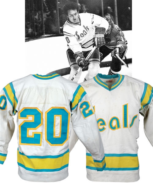 California Golden Seals 1975-76 Game-Worn Jersey Attributed to Bob Murdoch  - Team Repairs!