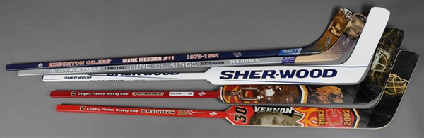 Mark Messier, Luc Robitaille, Mike Vernon and Miikka Kiprusoff Career Commemorative Sticks Plus Martin Brodeur 2014-15 St. Louis Blues Game Stick