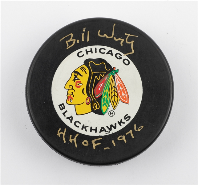 Deceased HOFer Bill Wirtz Signed Chicago Black Hawks Puck with JSA LOA