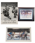 Vic Hadfields New York Rangers 1963-64 Team-Signed Program Plus Multi-Signed Lithographs (4) with His Signed LOA