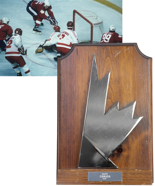 "Barrie Staffords 1987 Canada Cup Team Canada Trophy Plaque (11"") with His Signed LOA"