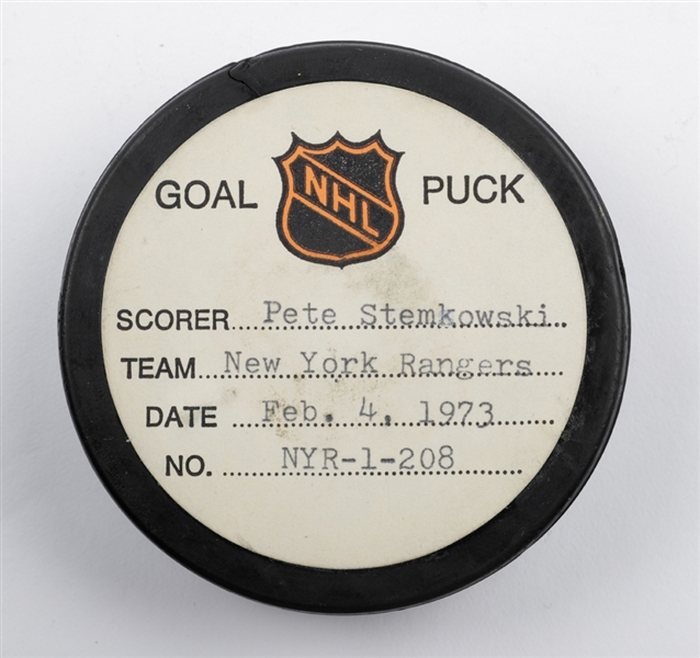 Pete Stemkowskis New York Rangers February 4th 1973 Goal Puck from the NHL Goal Puck Program - 16th Goal of Season / Career Goal #123 of 206 - 1st Goal of Hat Trick