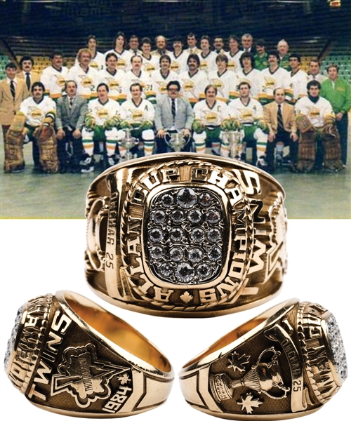 Dennis Owchars 1983-84 Thunder Bay Twins Allan Cup Championship 10K Gold Ring with His Signed LOA