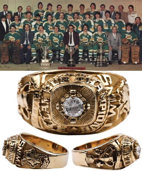 Dennis Owchars 1984-85 Thunder Bay Twins Allan Cup Championship 10K Gold Ring with His Signed LOA