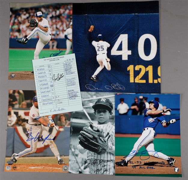 Toronto Blue Jays Signed Photo Collection of 5 Including Winfield, Alomar, Sprague and White Plus 1997 Batting Lineup Card Signed by Carter and Gaston