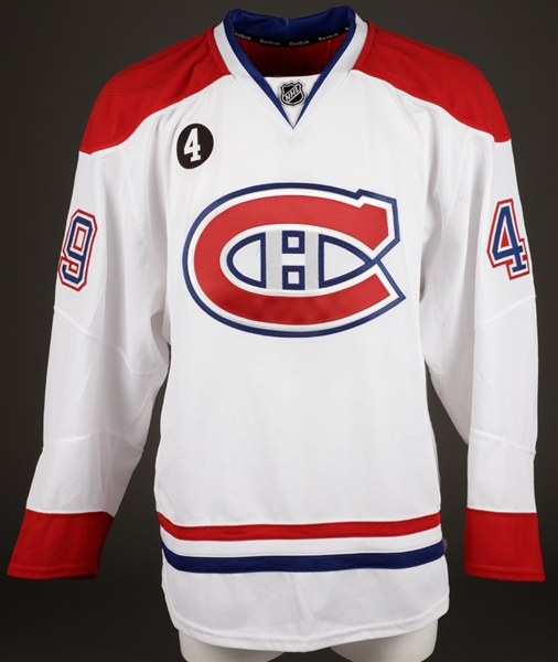 Michael Bournivals 2014-15 Montreal Canadiens Game-Worn Jersey with Team LOA - Beliveau Memorial Patch!