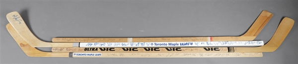 Toronto Maple Leafs 1980s/1990s Team-Signed Stick Collection of 3 Plus 1972-73 Souvenir Stick