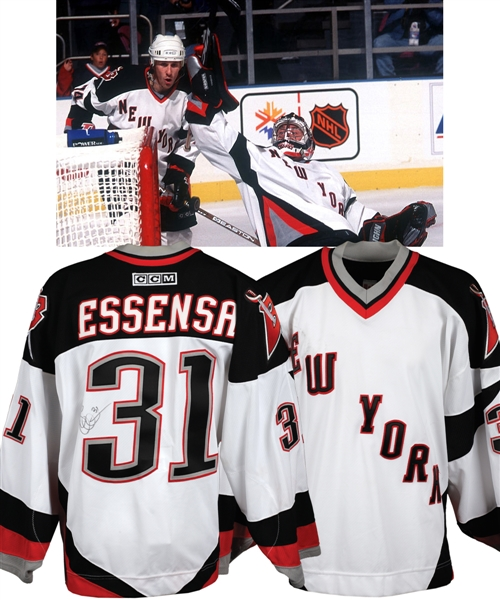 "Bob Essensas October 7th 2001 Buffalo Sabres ""New York"" Signed Game-Worn Jersey for Twin Towers Fund with Team LOA - One Game Style ""New York"" Jersey!"
