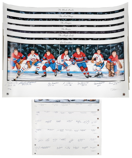 """Original Six"" Teams Multi-Signed Limited-Edition Artist Proof #34/50 Lithograph Collection of 6"