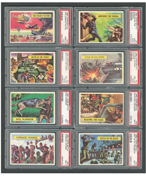 "1965 Topps ""Battle"" Complete 66-Card Set with Unmarked Checklists (2) and 18 PSA-Graded Cards"