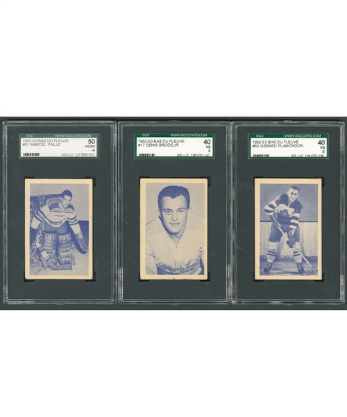 1952-53 Bas Du Fleuve SGC-Graded Near Complete Hockey Card Set (62/65) Including Brodeur and Paille