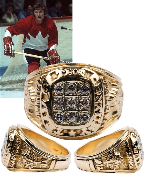 "Vic Hadfields Team Canada 1972 ""Team of the Century"" 14K Gold and Diamond Ring with His Signed LOA"