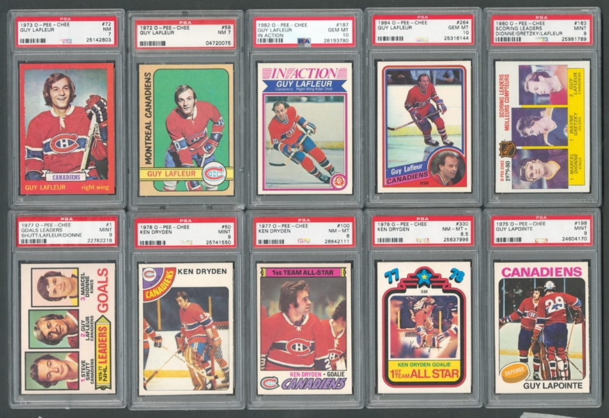 1972-84 Montreal Canadiens PSA-Graded Hockey Card Collection of 29 Including Guy Lafleur Cards (19) and Ken Dryden Cards (6)