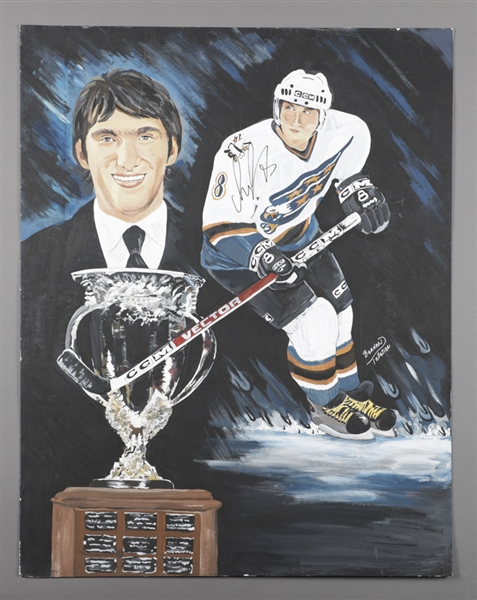 "Alexander Ovechkin Signed 2005-06 Washington Capitals Calder Memorial Trophy Original 2007 Painting by Bernard Pelletier with Documention (22"" x 28"")"