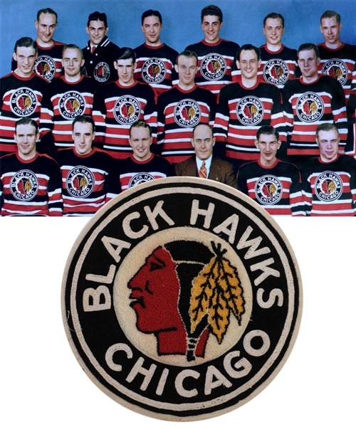 Chicago Black Hawks Circa 1938 Stanley Cup Champions Embroidered Jersey Team Crest Obtained from Bentleys Family