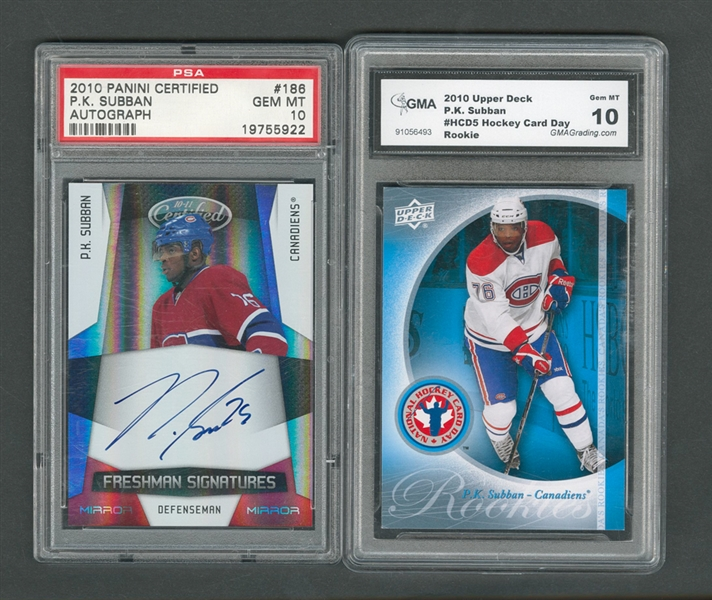 2010-11 Panini Certified Freshman Signatures Card #186 P.K. Subban RC Graded SA 10, 2014-15 Upper Deck PrPemier Emblems P.K. Subban #01/25 Plus Signed McFarlane Figurines and More!