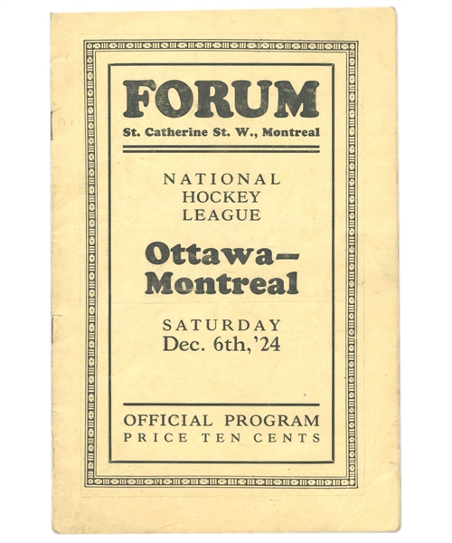 Montreal Forum December 6th 1924 Program - Montreal Maroons vs Ottawa Senators - First Year of Montreal Forum! - Montreal Maroons First Win!