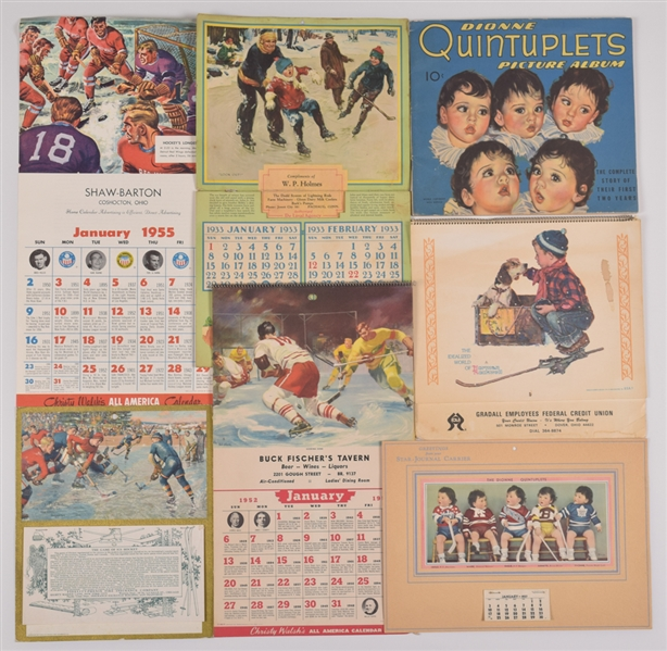 Vintage 1910s-1980s Hockey Calendar Collection of 5 Including 1937 Dionne Quintuplets Hockey Calendar