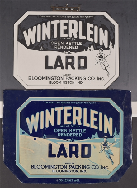 Vintage 1930s/1950s Winterlein Lard Hockey-Themed Packaging Artworks, Printers Proofs and Much More