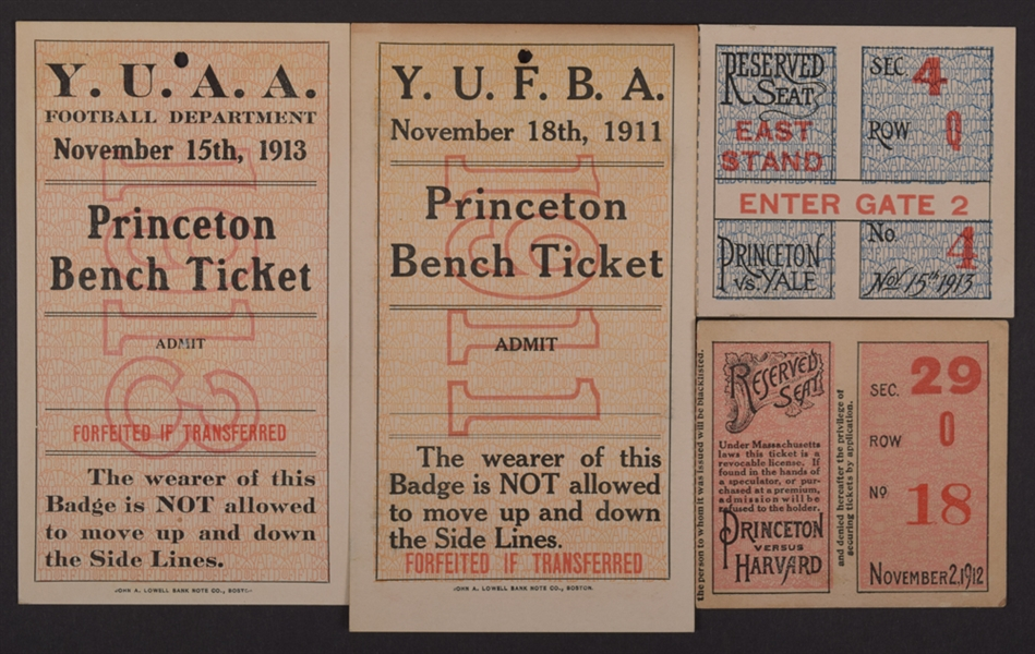 Hobey Baker 1911-13 Princeton Tigers Football Tickets/Side Line Pass Collection of 4