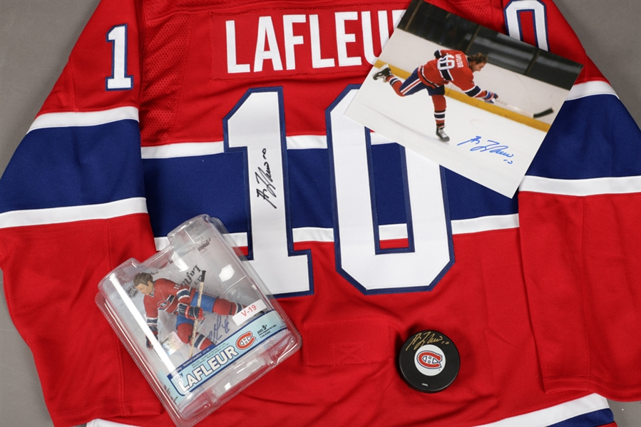 Guy Lafleur Montreal Canadiens Autograph Collection of 5 including Signed Jersey and Signed Limited-Edition Commemorative Stick with LOA