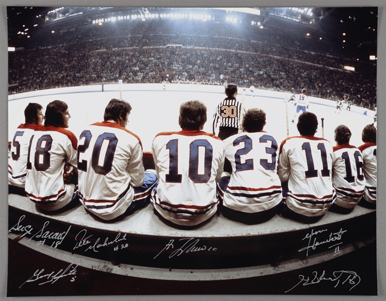"Montreal Canadiens ""The Bench"" Multi-Signed Photo by 6 with Lafleur, Lapointe, Savard and Henri Richard with LOA (11"" x 14"")"