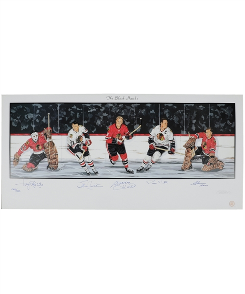"Chicago Black Hawks Limited-Edition Lithograph Autographed by 5 HOFers with LOA (18"" x 39"")"