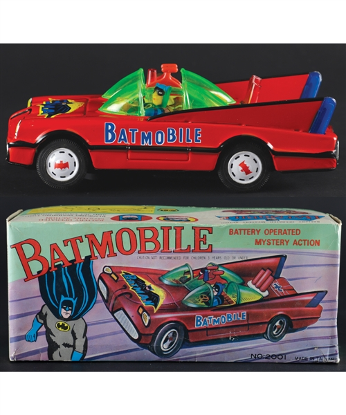 Vintage 1970s Batmobile Battery Operated Tin Toy in Original Box - Batman & Robin!