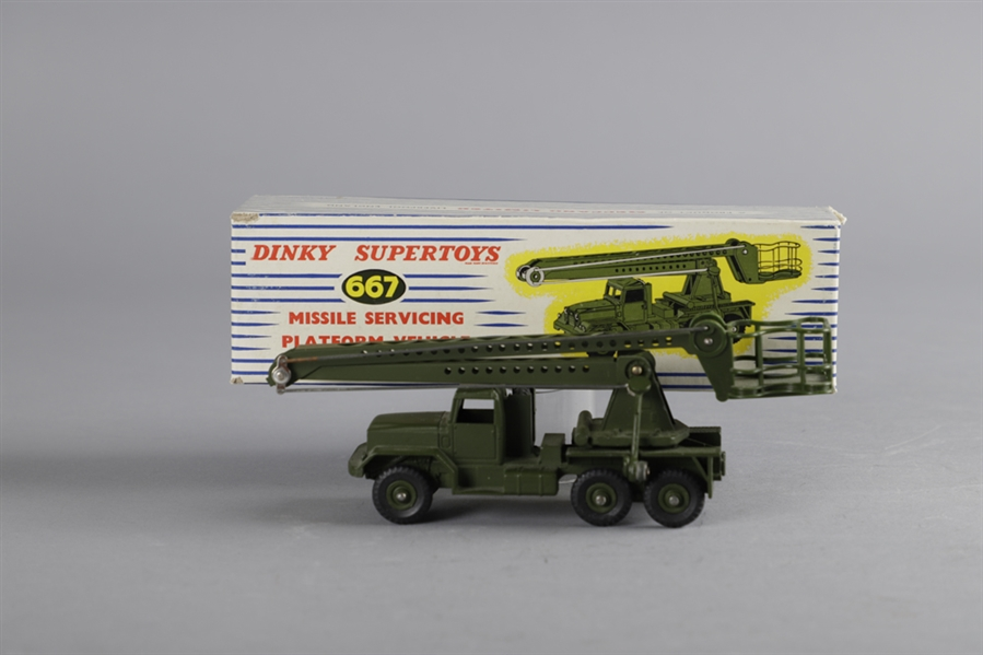 Vintage Dinky Supertoys #667 Missile Servicing Platform Vehicle and #893 Unic Sahara Tractor in Their Original Boxes