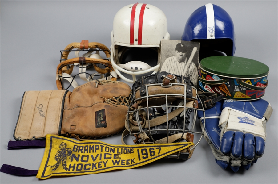 Large 1920s to 1970s Vintage Multi-Sport Equipment and Memorabilia Lot of 45+