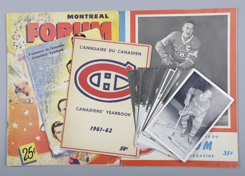 Montreal Canadiens 1960-61 and 1961-62 Media Guides, 1948-70 Hockey Programs (6) Inc. March 13th 1955 Pre-Richard Riot Program Plus 1950s/1960s Postcards (34)