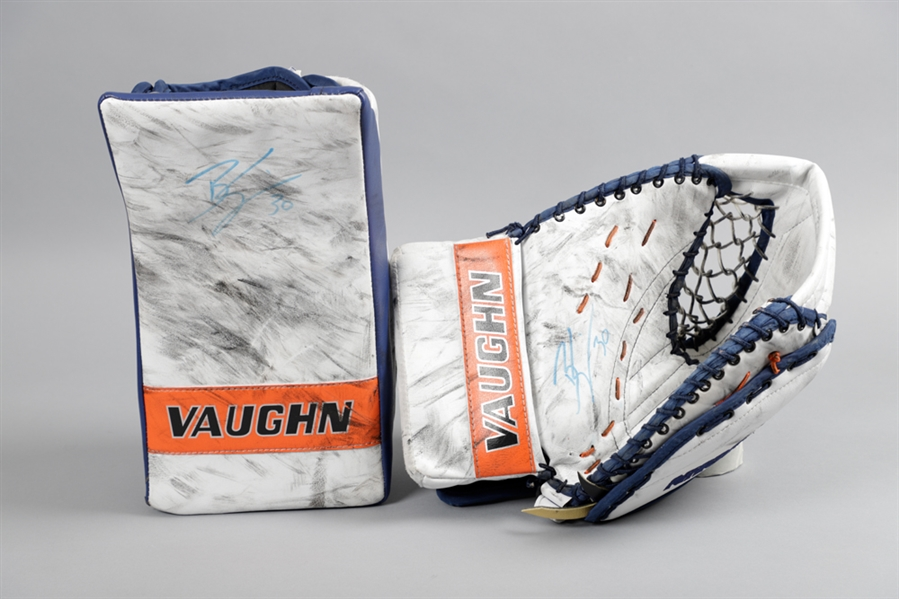 Ben Scrivens 2014-15 Edmonton Oilers Signed Vaughn Practice-Used Glove and Blocker with Team LOA Plus Andrew Raycrofts Early-2000s Boston Bruins CCM Game-Used Blocker