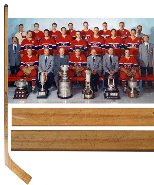 Montreal Canadiens 1956-57 Stanley Cup Champions Team-Signed Stick by 18 with JSA LOA Including Plante, Harvey, Blake and Maurice Richard