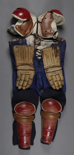 Vintage 1940s/1950s Adult Hockey Equipment Collection Including D&R Pants, Reach Shoulder Pads, Elbow Pads, Shin Guards and Holden Polar Brand Long Fingers Leather Hockey Gloves