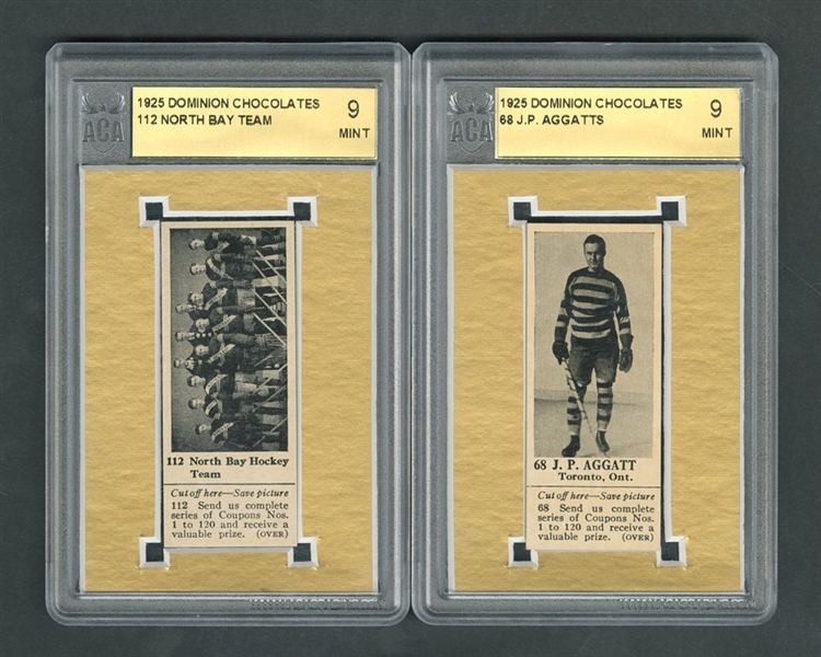 1925 Dominion Chocolate Hockey Cards #68 J.P. Aggatts and #112 North Bay Hockey Team (with Tabs) - Both Graded ACA 9 MT