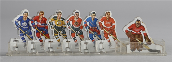 """Original Six"" 1960s Table Top Tin Hockey Players Set (36), 1970-71 Dads Cookies Hockey Cards (132) and Vintage Multi-Sports and Batman Pennants (26)"