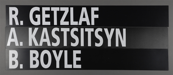 "Ryan Getzlaf (Anaheim Mighty Ducks), Brian Boyle (Los Angeles Kings) and Andrei Kostitsyn (Montreal Canadiens) 2003 NHL Entry Draft Stage Nameplates (6 ¼"" x 48"")"