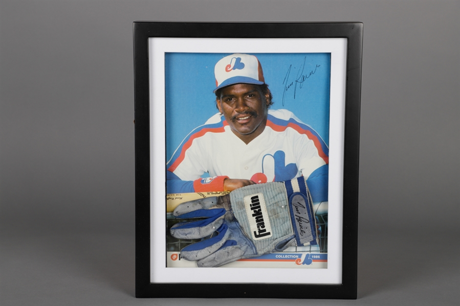 Tim Raines 1980s Montreal Expos Signed Franklin Game-Used Batting Glove Framed Display (PSA-DNA Certified) Plus Signed Baseball with HOF 17 Inscription (SGC Authenticated)