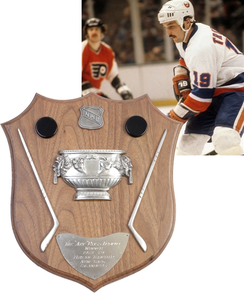 Bryan Trottiers 1978-79 New York Islanders Art Ross Trophy Plaque with Family LOA - 47-Goal 134-Point Season!