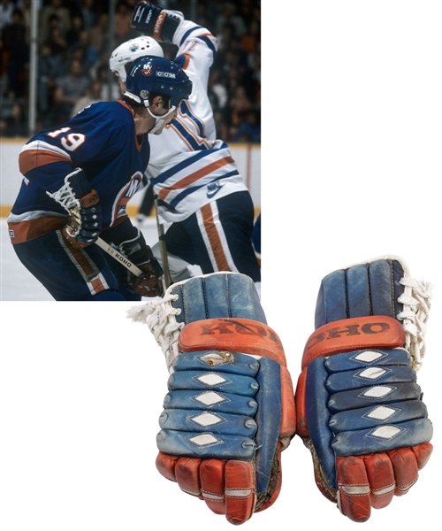 Bryan Trottiers 1983-84 New York Islanders Koho Game-Used Stanley Cup Finals Gloves with Family LOA - Photo-Matched!