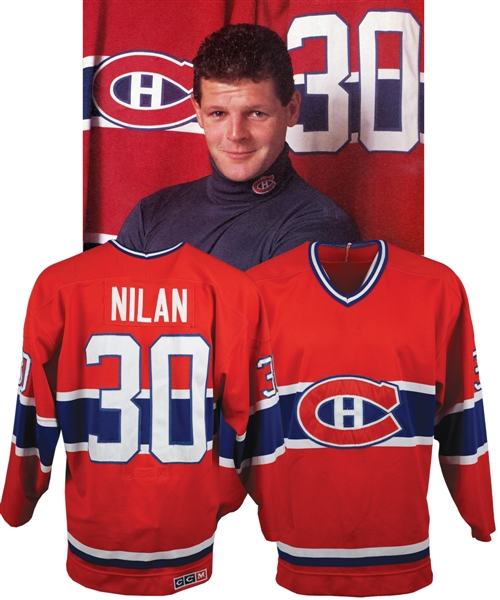 Chris Nilans 1987-88 Montreal Canadiens Game-Worn Jersey - Team Repairs! - Photo-Matched!