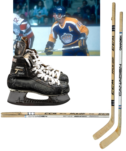 Marcel Dionnes 1980s Los Angeles Kings Signed Game-Used Sticks (2) and Signed CCM Super Tacks Game-Used Skates