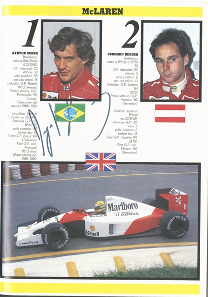 1991 Formula One Italian Grand Prix (Monza) Program Signed by Ayrton Senna, Nigel Mansell and Thierry Boutsen