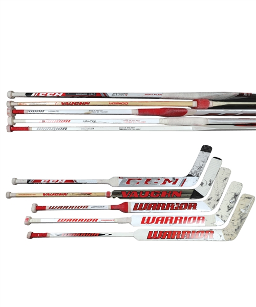 Detroit Red Wings 2010s Game-Used Stick Collection of 5 Including Jonas Gustavsson, Petr Mrazek and Jimmy Howard