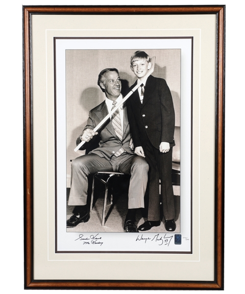 "Wayne Gretzky and Gordie Howe Dual-Signed ""The Hook"" Limited-Edition Framed Photo #202/299 with WGA COA (21 ¾"" x 30 ¾"")"
