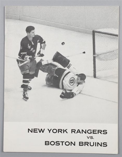 Madison Square Garden 1961-62 Program Signed by 8 New York Rangers Including Harvey, Ratelle, Worsley and Bathgate
